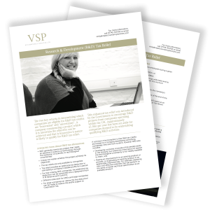 VSP Accountancy R&D Tax Relief Guide Mockup